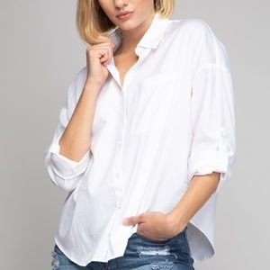 Drop Shoulder Oversized Button Down Shirt